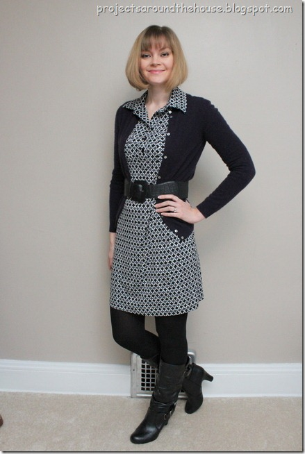 printed dress, cardigan, belt, boots