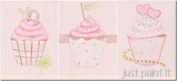 pink cupcake paintings