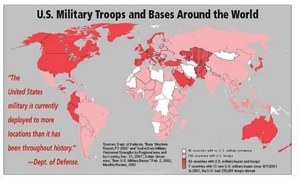 CC Photo Google Image Search Source is themillenniumreport com  Subject is American empire map of bases around world