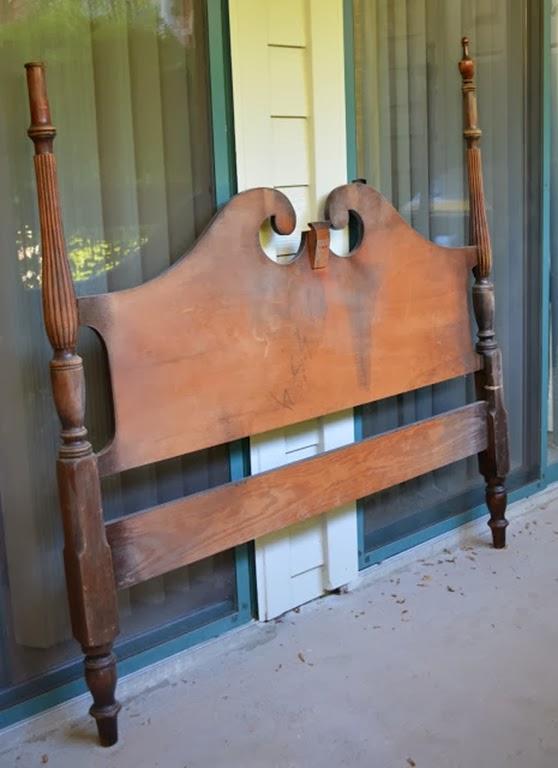 Heardboard refurbished as a bench
