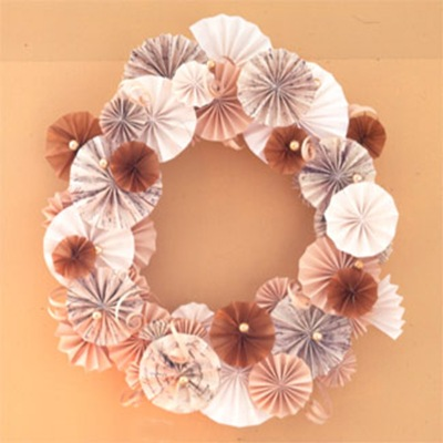 tissue paper fan wreath