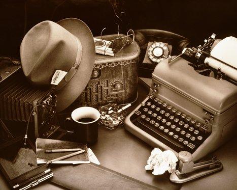 Mesa de um jornalista na era pré-digital
