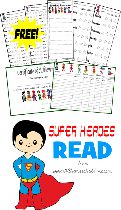 super Heroes read: Free Printable Reading Logs to get kids excited about reading 20 minutes a day