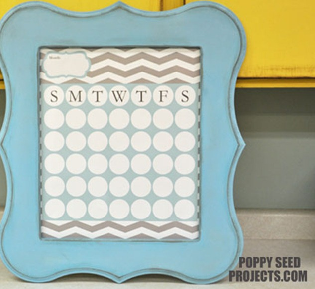 Super-Saturday-Ideas-Dry-Erase-Calendars-aqua-grey-chevron-eleanor-frame