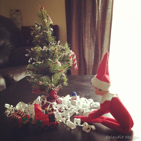 Elf on the shelf with Christmas tree