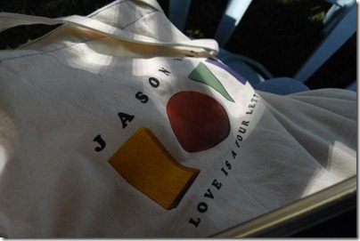 Jason Mraz Love is a Four Letter Word tote bag