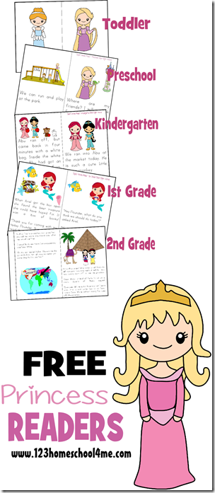 free Princess Readers (Toddler, Preschool, Kindergarten, 1st Grade, 2nd Grade)