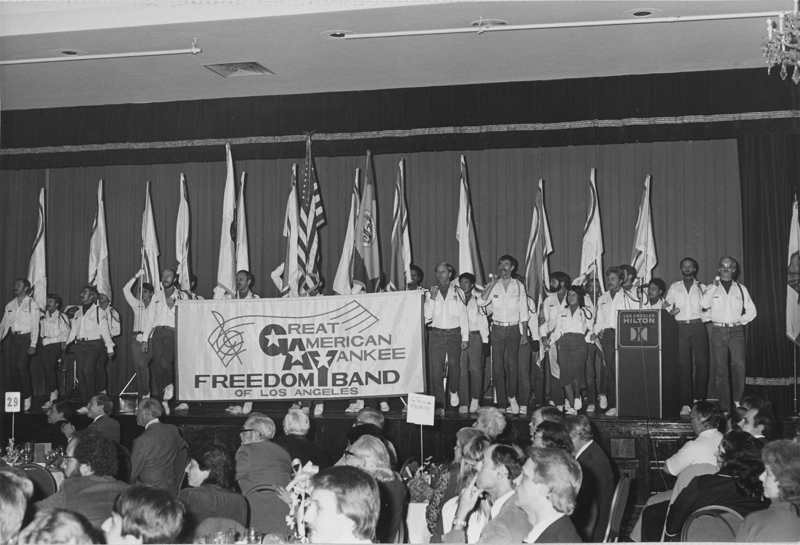 The Great American Yankee Freedom Band plays on stage at ONE Incorporated's 30th Annual Banquet at the Hilton Hotel. January 30, 1982.