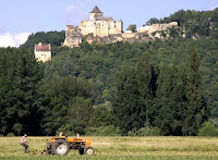 Farming beneath an ancient castle.