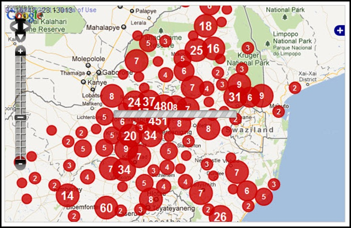 TRANSVAAL CRIMEMAP TARGETTING WHITES FARMITRACKER DEC 11 2011