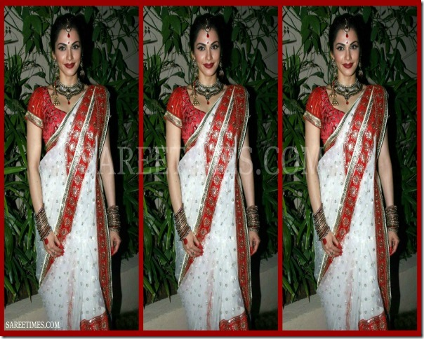 Isha_Koppikar_White_Traditional_Saree
