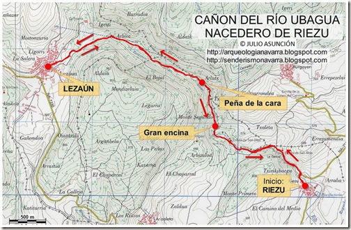 Mapa ruta Cañon Ubagua