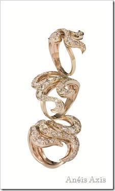 Anéis de ouro amarelo e rosé com diamantes