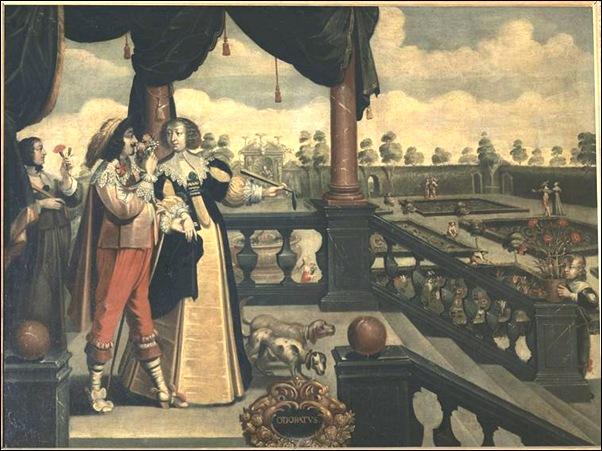 Bosse Abraham (d'après) - l'odorat (suite des 5 sens) - 17e siècle - huile sur toile - 1,04 x 1,37 m - Tours, Musée des beaux-arts