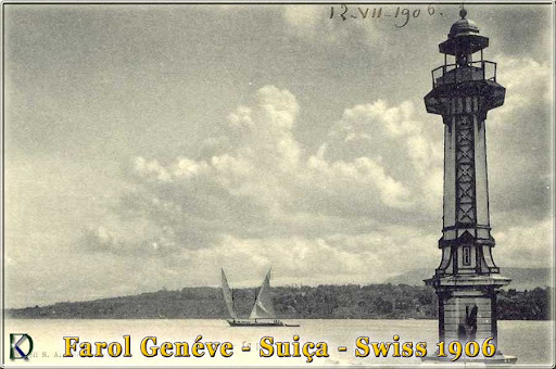Postkarte Leuchtturm Geneve 1906 Schweiz Swiss