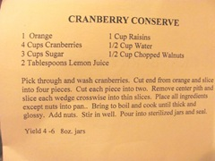 Cape Cod Columbus weekend 2012..Sat. Green Brier Kitchen cranberry conserve recipe