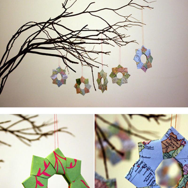 Papiroflexia adornos para el árbol de Navidad