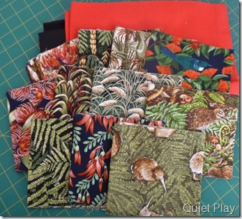 Fabrics in the quilt kit
