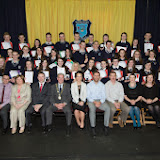 Fifth year studens who recieved awards at the Mulroy College prize giving on Thursday night last with seated from left Brendan Meladey, Catherine McHugh, Deputy Principal Martin Davis, Parmerica, Ian McGarvey, Donegal Mayor, Fiona Temple,Principal, Jason Black, guest Speaker, Tony McCarry, Parents Committtee, Scatha Farrell, BOM, Susan McKelvey and Breda McGettigan. Photo Clive Wasson.