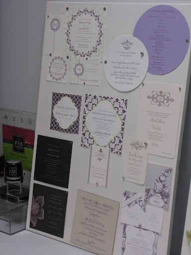 Boards showed off examples of beautiful stationery.