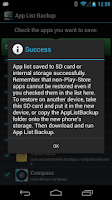 Screenshot of App List Backup