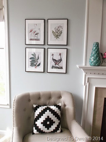 Art & Chair Flanking Fireplace