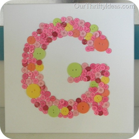 Our Thrifty Ideas: Button Letter Canvas tutorial
