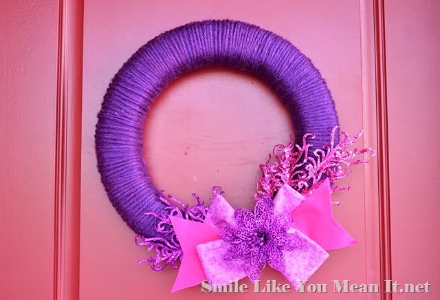 Valentine's Day Yarn and Glitter Wreath