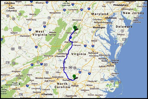 0 - Travel to Endless Caverns, Map 250 miles