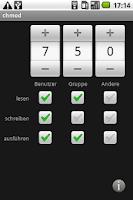 Screenshot of chmod