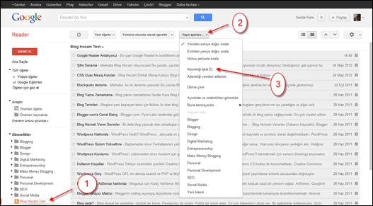 Google Reader Aboneliği İptal Etme
