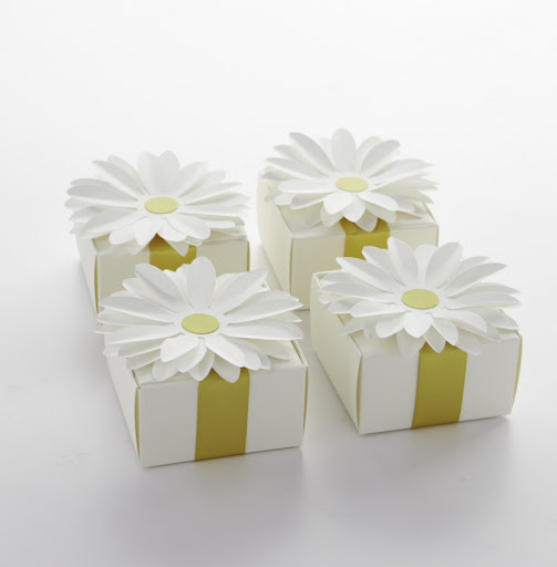 A daisy gift box will give your guests a memorable favor to bring home from the party. Fill with yellow candy, a thank-you note, or a special keepsake.