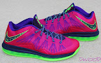 nike lebron 10 low gr purple neon green 2 01 Release Reminder: NIKE LEBRON X LOW Raspberry (579765 601)