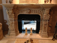 Carved travertine fireplace surround with acanthus & floral deta