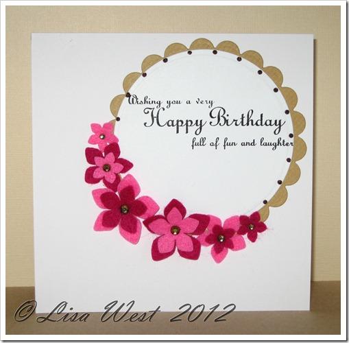 Pink Felt Flower Card (2)