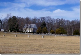 Old Stone Church and Cemetery at distance setting on knoll