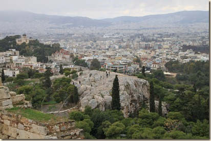 View of the Aeropagus rom the Acropolis in Athens
