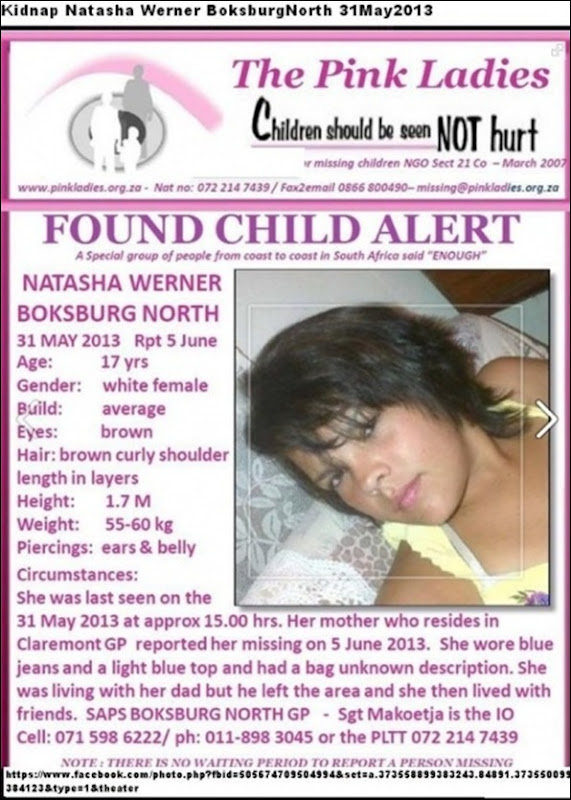 WernerNatasha17Missing31May2013Boksburg