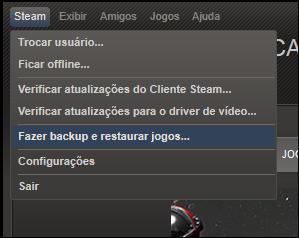 Na janela principal do Steam, clique em Steam, depois em Fazer backup e restaurar jogos