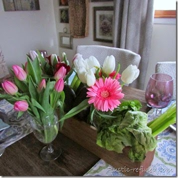 Tablescape for Spring using Pinks and Greens