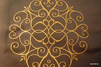 """Luksusowa trudnopalna tkanina z haftem. """"Tafta"""" butikowa. Na zasłony, poduszki, narzuty, dekoracje. Brązowa, złota."""