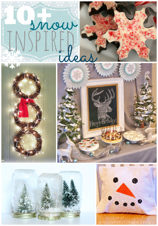 Over 10 Snow Inspired Ideas at GingerSnapCrafts.com #snow #linkparty #features