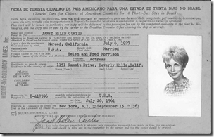 Janet Leigh Curtis's 1961 Brazilian immigration card