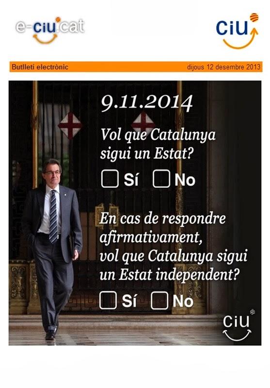 las doás questions de CiU-CUP-ERC-ICV pel referèndum del 9 de novembre 2014