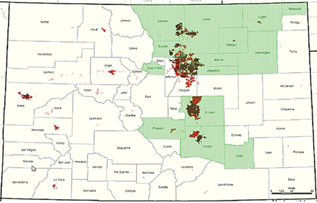 Extent of damage from Colorado flooding in September 2013. Green areas represent counties where flood disaster has been declared, and red represents the most heavily populated areas. Photo: Colorado State Government