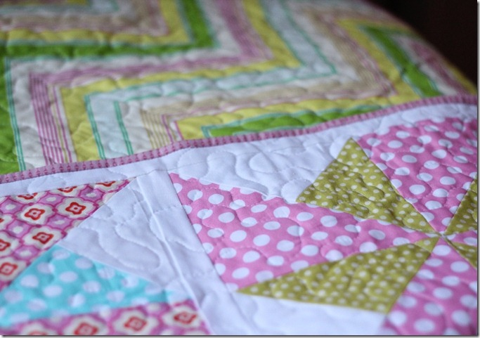 Zig Zag Backing and Pink Binding