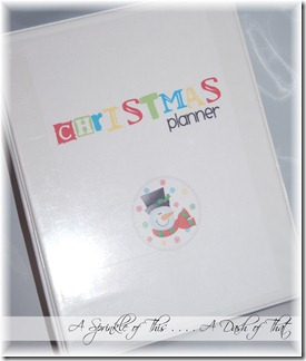 Christmas Planner Cover {A Sprinkle of This . . . . A Dash of That}