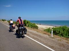 Riding along the Peruvian coast towards Mancora.