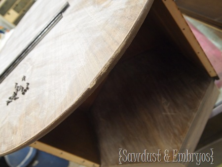 Prepare Furniture for Paint {Sawdust and Embryos