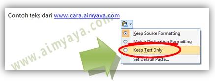 Gambar: Cara copy paste hanya teks di dokumen microsoft word